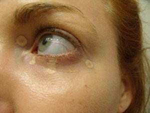 Cargo One Base concealer dotted in inner corner and beneath the eye.