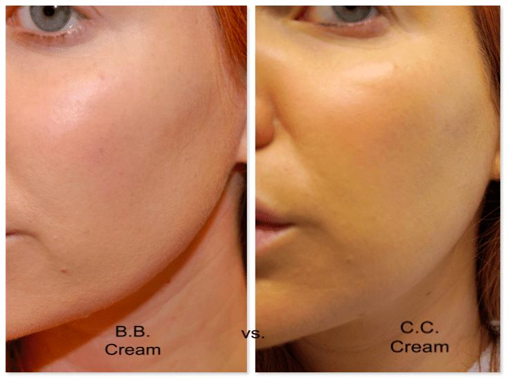 Garnier BB cream on the left, It Cosmetics CC cream on the right.