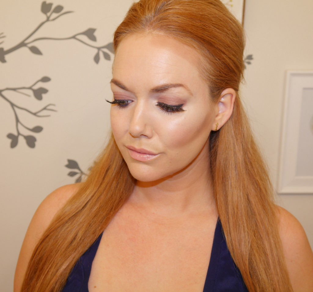 Applied contour powder with the smaller side, about to blend with the larger, slanted end.