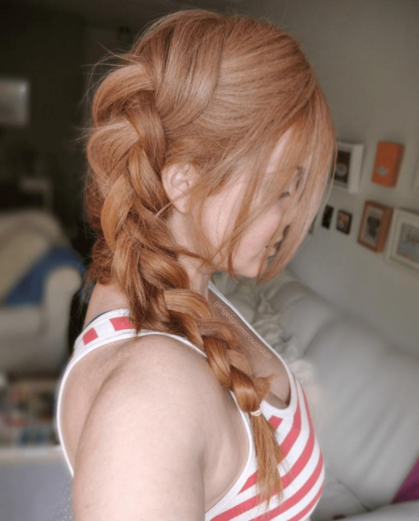 strawberry blonde hair braided