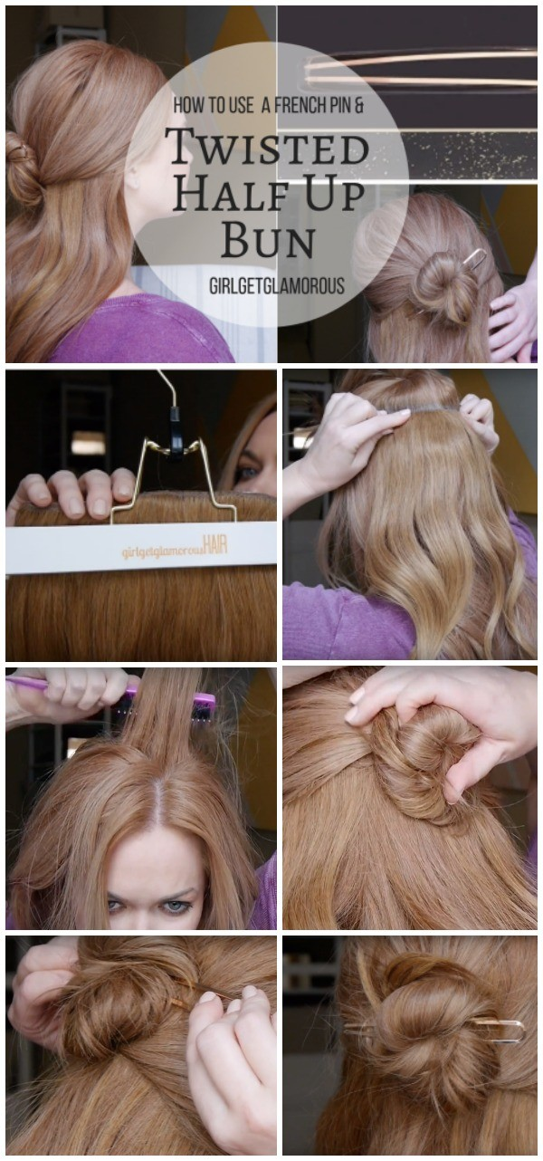 twisted half up messy bun with french hair pin hwo to use beauty blog kristin ess