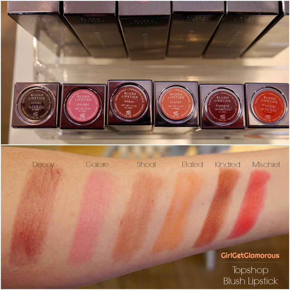 topshop blush sheer lipstick swatches 2019 relaunch decoy shoal makeup for redheads