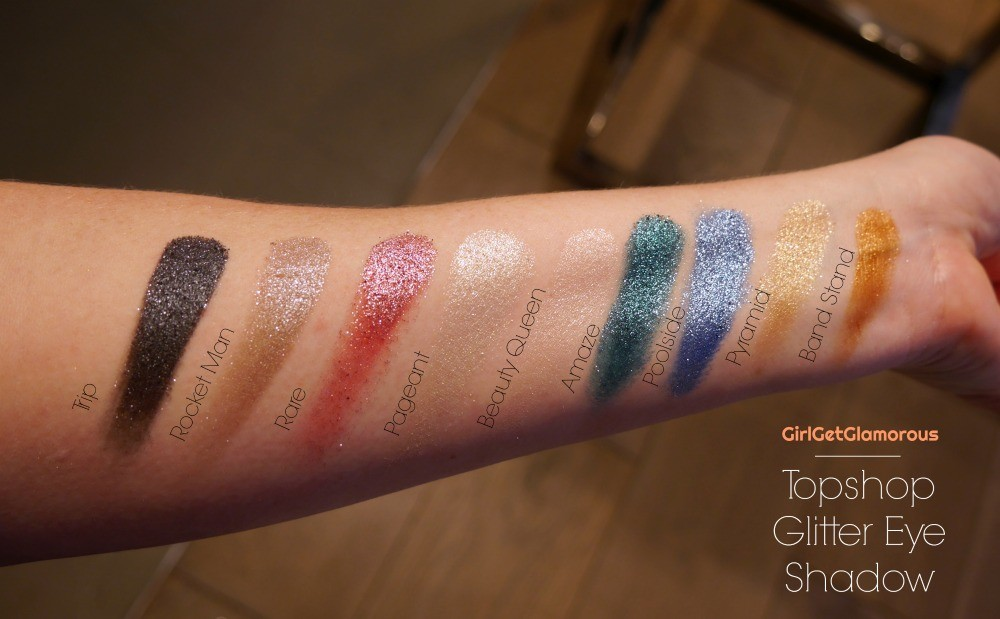 topshop glitter eyeshadow makeup beauty best swatches