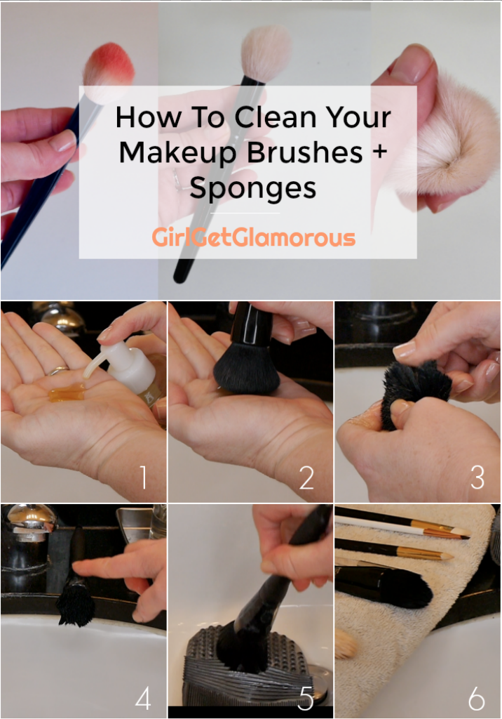 how to clean your makeup brushes sponges step by step