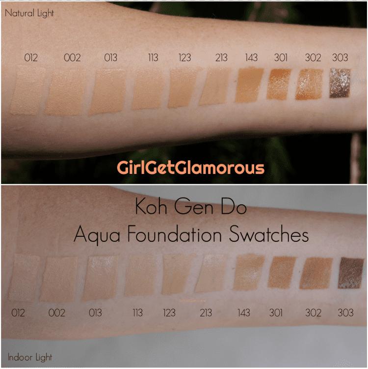 Top Foundations 2020.Koh Gen Do Aqua Foundation Swatches Full Color Range 2019