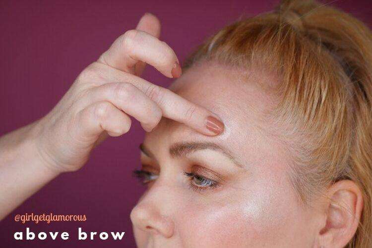 above eye brow arch highlight demo