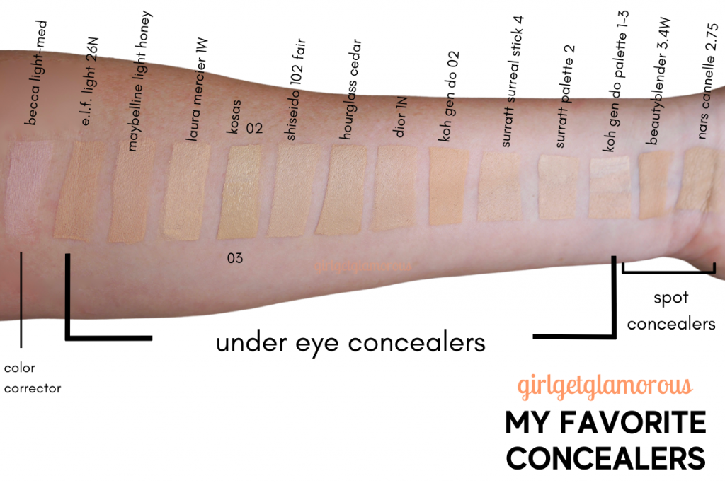 concealer swatches on fair to light skin with peach undertones